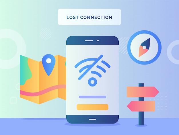 Значок wi-fi концепции потерянного соединения перечеркнул отсутствие сигнала доступа в интернет на фоне экрана смартфона дисплея указателя карты компаса с плоским стилем. Premium векторы