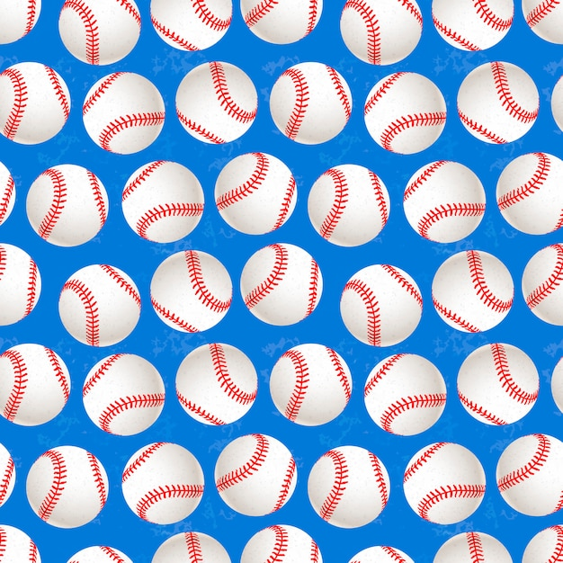 A lot of baseball balls on blue background seamless pattern Premium Vector