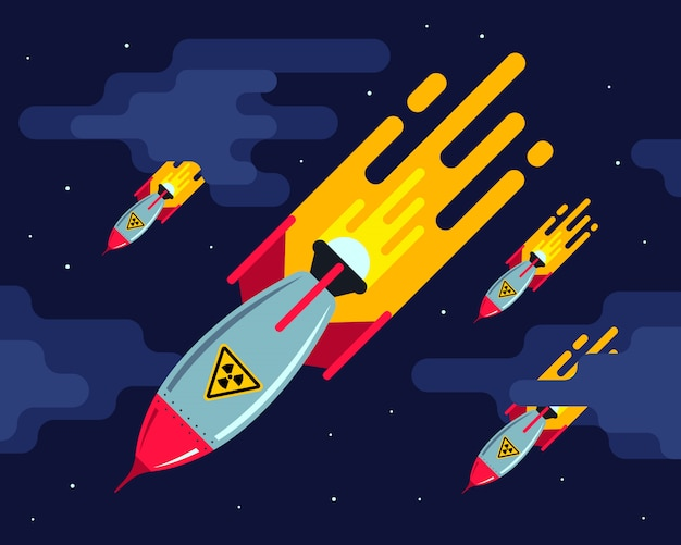 A lot of nuclear missiles in the night sky. aggressive attack. third world war. flat illustration Premium Vector