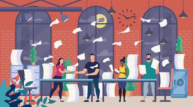 A lot of office paperwork, bureaucracy Premium Vector