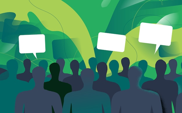 A lot of persons are talking about different topics Premium Vector
