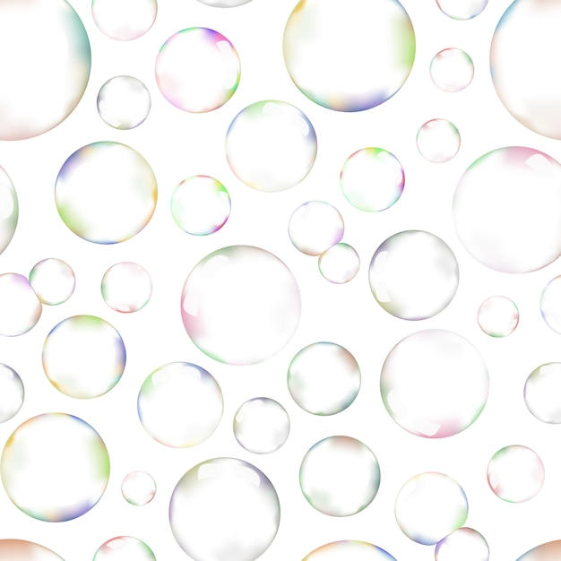 A lot of soap bubbles on white background seamless pattern Premium Vector