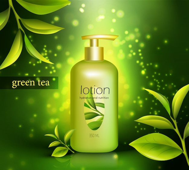 Lotion with green tea illustration Free Vector