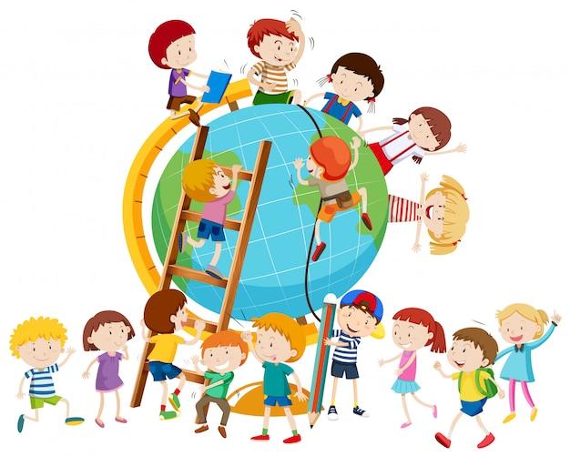 Lots of children around the globe Free Vector