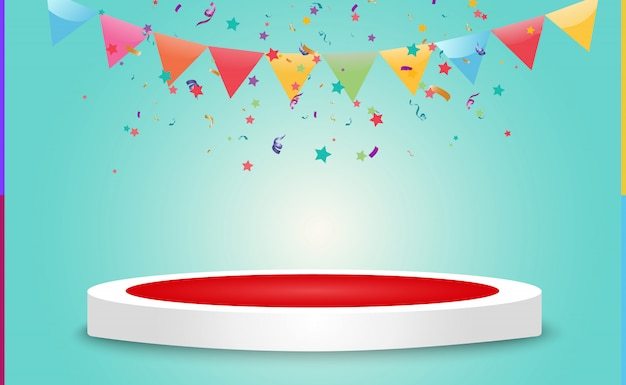 Lots of colorful tiny confetti and ribbons on transparent background. festive event and party. multicolor background. colorful bright confetti isolated on the podium. Premium Vector