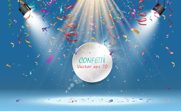 Lots of colorful tiny confetti and ribbons on transparent background. festive event and party. multicolor background.colorful bright confetti isolated on transparent background Premium Vector