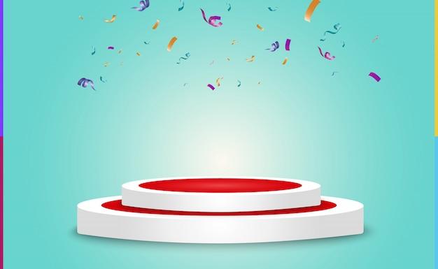 화려한 작은 색종이와 투명 한 배경에 리본을 많이. 축제 이벤트 및 파티. 여러 가지 빛깔의 배경입니다. 연단에 고립 된 다채로운 밝은 색종이. 프리미엄 벡터