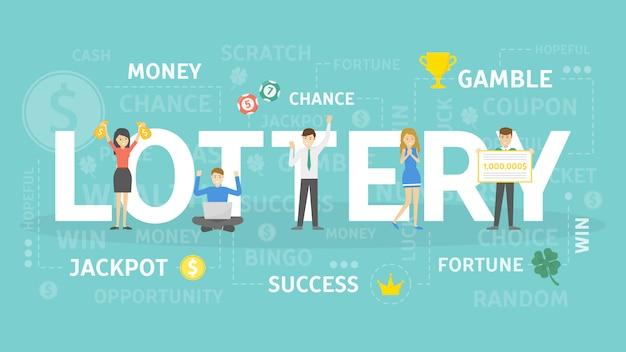宝くじの概念図。ギャンブルとレジャーのアイデア。 Premiumベクター