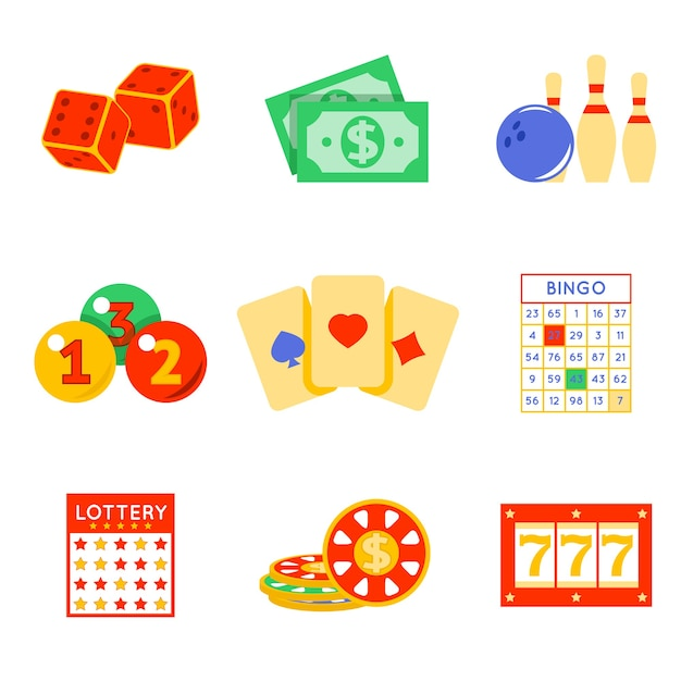 Lottery elements set. risk and card, luck and game Free Vector