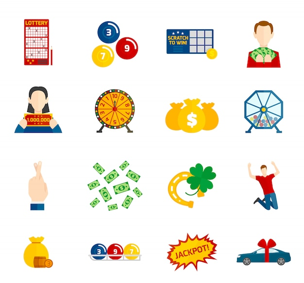 Lottery icon flat set Free Vector