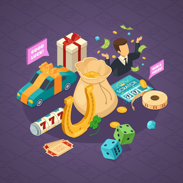 Lottery isometric concept with luck symbols on violet Free Vector