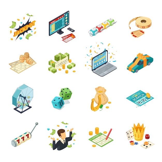 Lottery isometric icons set with jackpot symbols  isolated vector illustration Free Vector