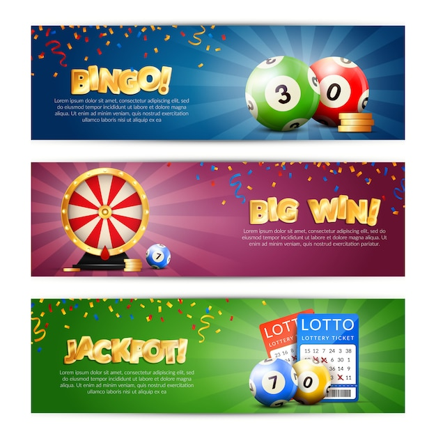 Набор баннеров джекпот лотереи Бесплатные векторы