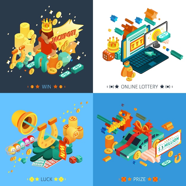 Lottery and jackpot concept icons set Free Vector