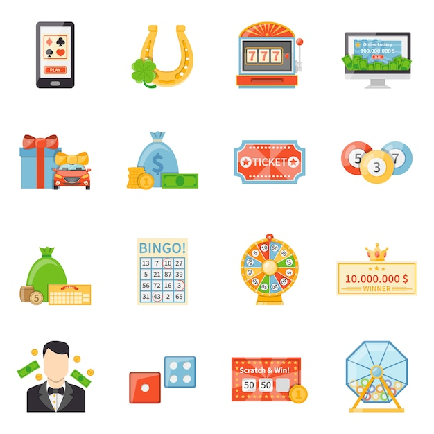 Lottery and jackpot decorative icons Free Vector