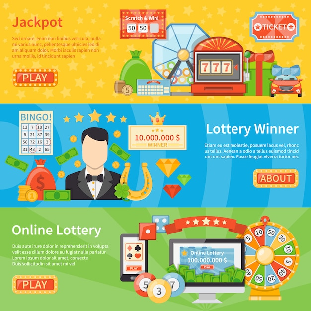 Lottery and jackpot horizontal banners Free Vector