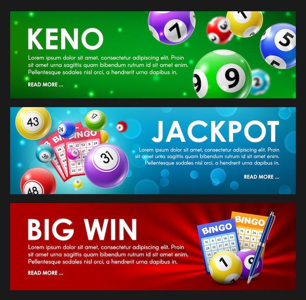 宝くじくじ、キノ、ビンゴ、ジャックポット大当たりロトゲームボールとラッキーナンバーのカード。 Premiumベクター