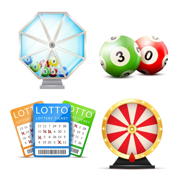 Lottery realistic accessories set Free Vector