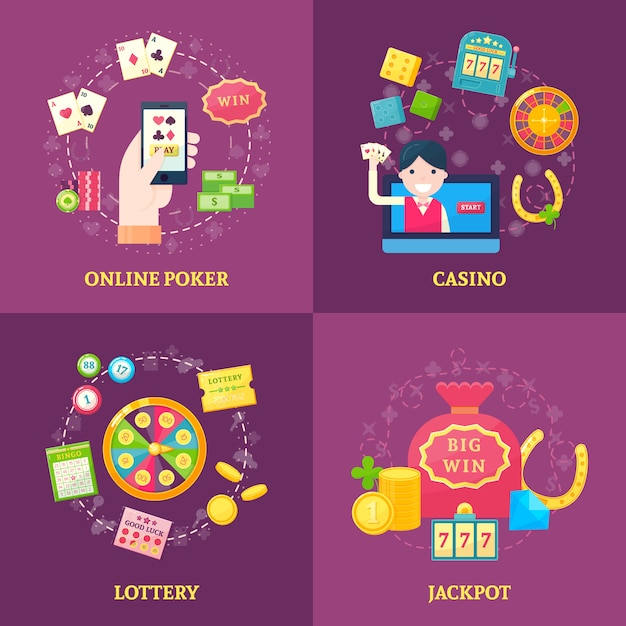 Lottery square banners set Free Vector