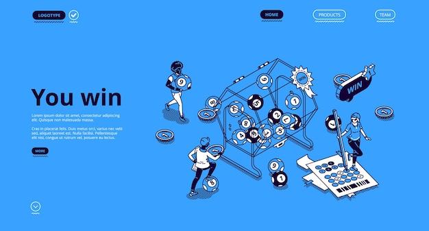 Изометрическая целевая страница выигрыша в лотерею с крошечными людьми вокруг огромного барабана с катящимися внутри шариками Бесплатные векторы
