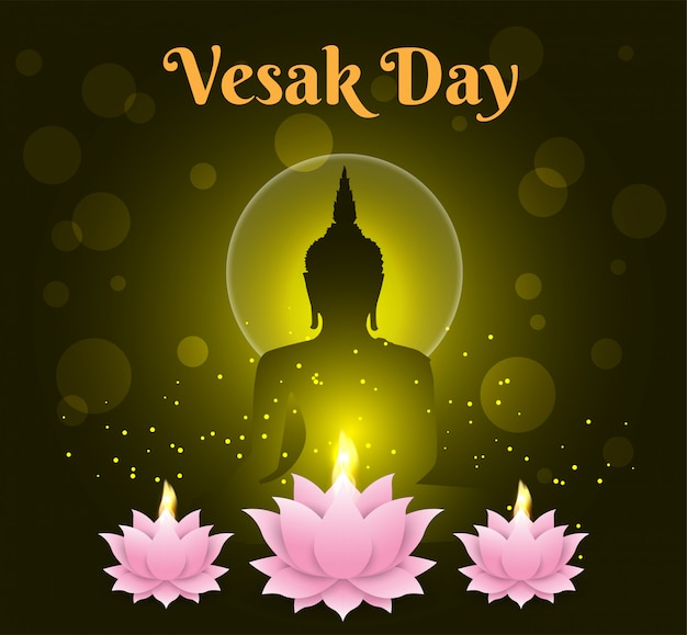 Lotus candle happy vesak day background buddha on black background Premium Vector