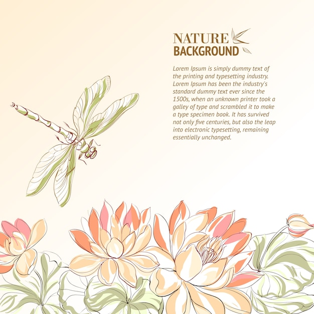 Lotus flower and dragonfly. Free Vector