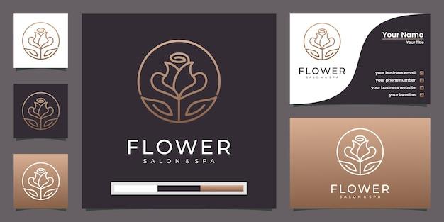 ロータスフラワーゴールデンラインアートスタイルのロゴと名刺 Premiumベクター