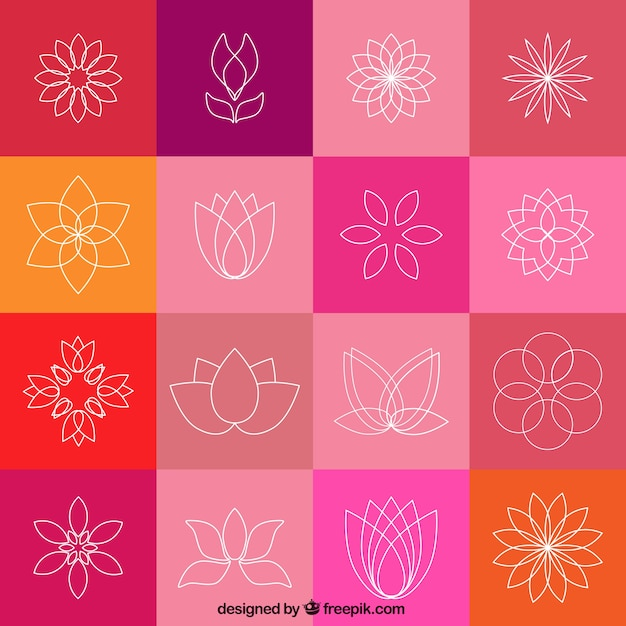 Lotus flower icons Free Vector