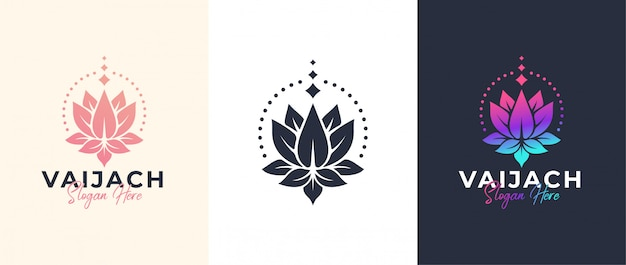 Lotus flower logo template Premium Vector