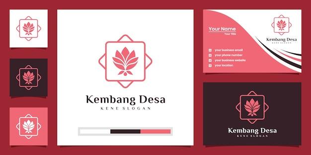 蓮の花のロゴ。ヨガセンター、スパ、ビューティーサロンの高級ロゴ。ロゴデザイン、名刺。 Premiumベクター