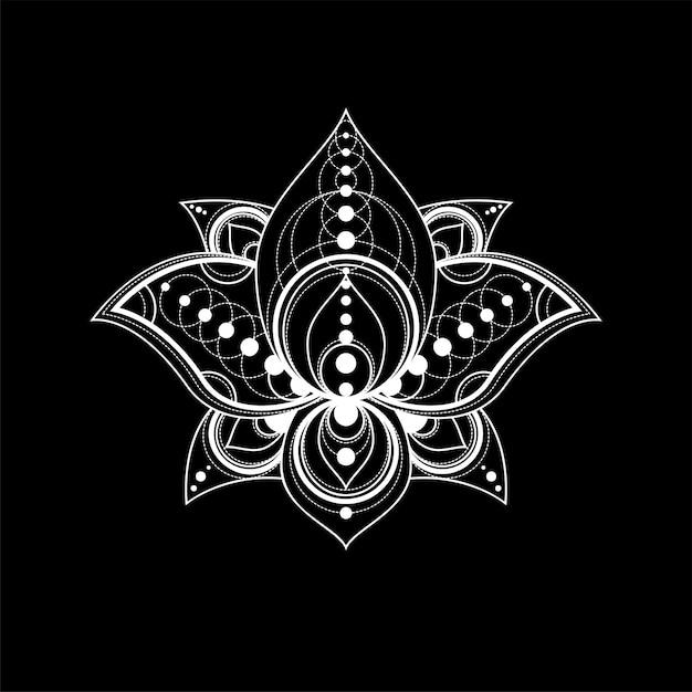 Цветок лотоса с геометрическим орнаментом вектор линейной иллюстрации Premium векторы