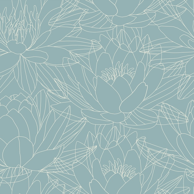 Lotus flowers in seamless pattern Premium Vector