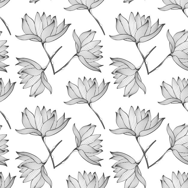 蓮の花のシームレスなパターン 無料ベクター
