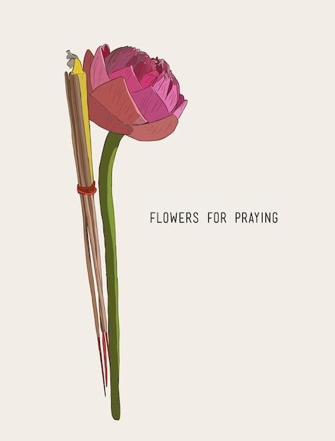 Lotus incense sticks and candles set Premium Vector