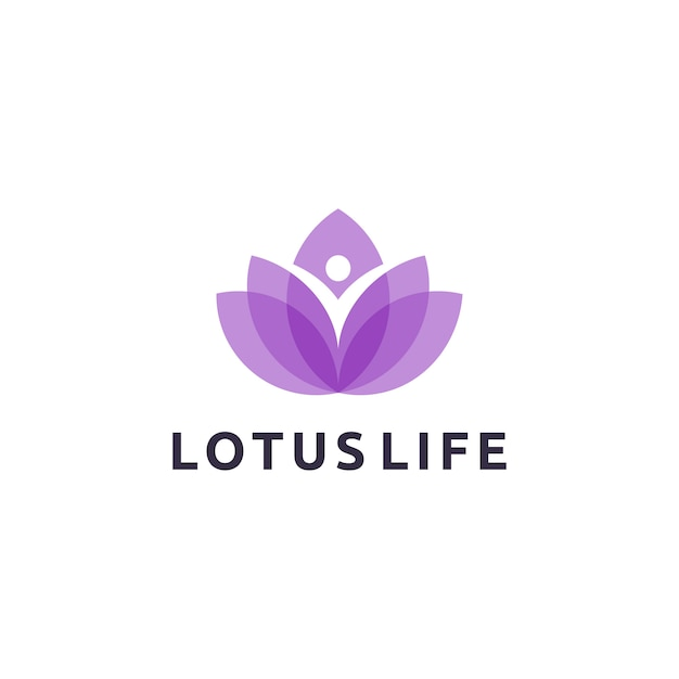 Lotus life logo design Premium Vector