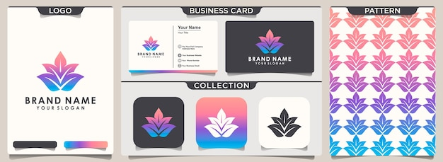 Lotus logo and pattern design and business card design Premium Vector