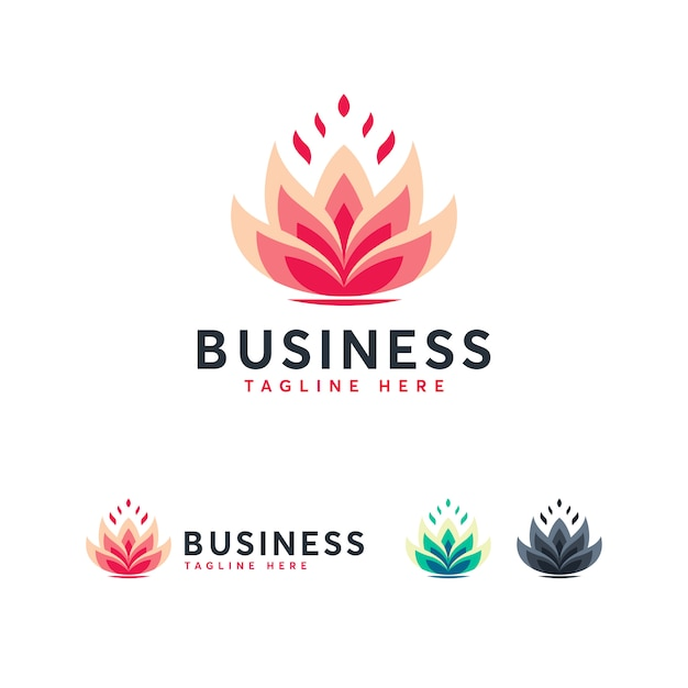 Lotus logo template Premium векторы