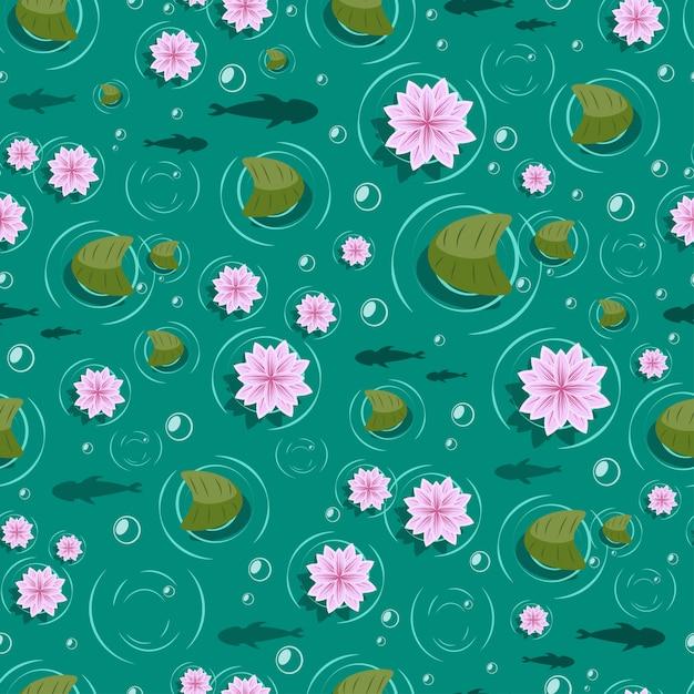 Lotus seamless pattern. Premium Vector