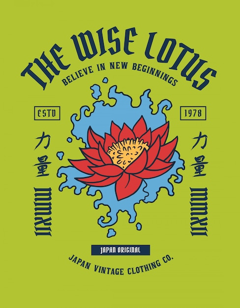 Lotus Tattoo With Japanese Word Means Strength Vector