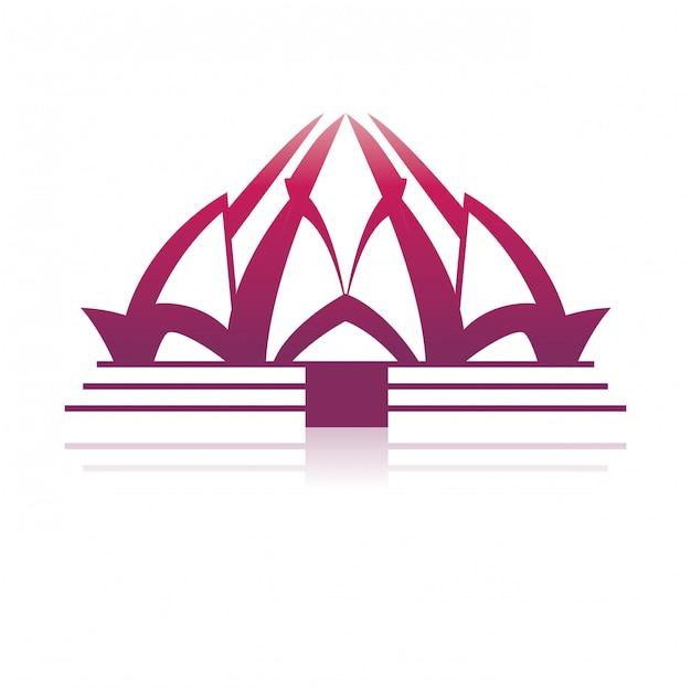 Lotus temple architecture Premium Vector