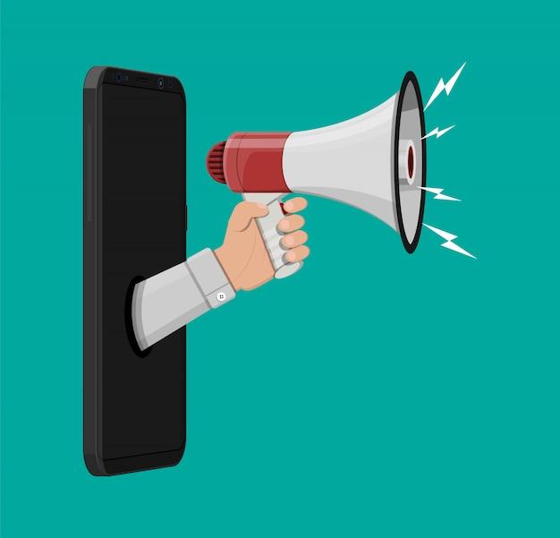 Loudspeaker or megaphone. smartphone Premium Vector