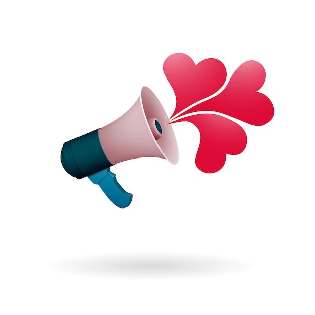 Громкоговоритель говорит о любви. случайные акты любви и добра. всемирный альтруистический праздник. Premium векторы