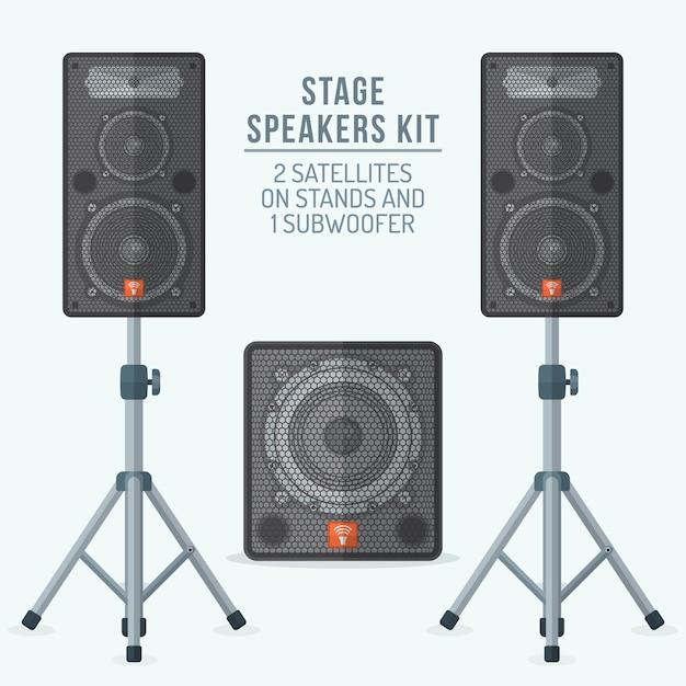 Loudspeakers kit satellites on stands and subwoofer Premium Vector