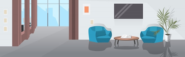Lounge area with armchairs coffee table and tv modern office interior sketch Premium Vector