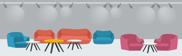 Lounge area with couch and armchairs around tables modern office waiting room interior sketch Premium Vector