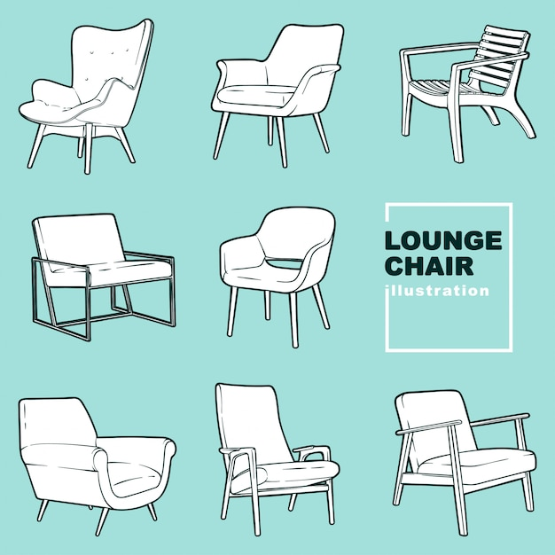 Lounge chair illustrations Premium Vector