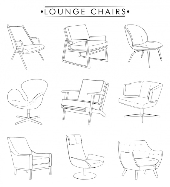Lounge chairs outline drawing Premium Vector