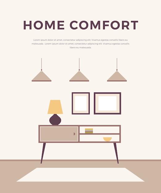 Интерьер в стиле lounge с классической современной мебелью: светильниками, тумбочками, картинами. , минималистичный стиль. дизайн домашнего интерьера. Premium векторы