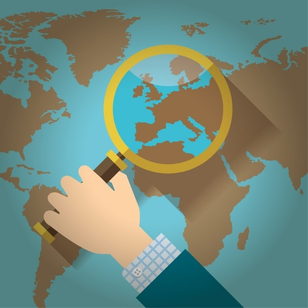 Loupe over a world map flat design vector free download loupe over a world map flat design free vector gumiabroncs Images