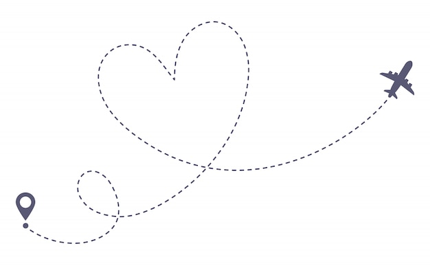 Love airplane route. romantic travel, heart dashed line trace and plane routes isolated  illustration Premium Vector